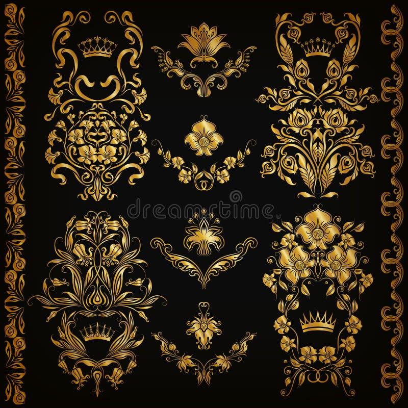Conjunto de ornamentos del damasco del vector ilustración del vector