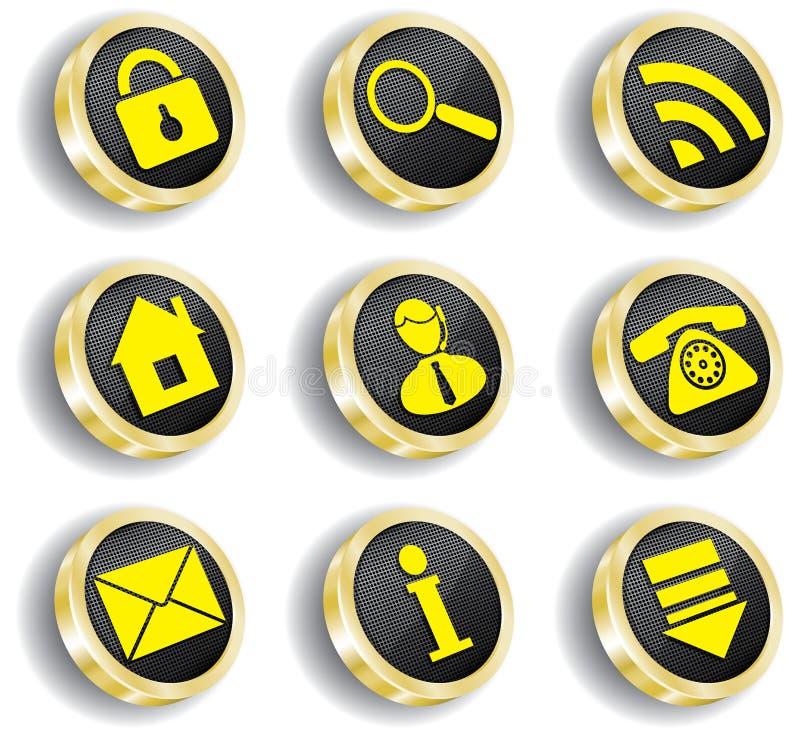 Conjunto de oro del icono del Web del ordenador libre illustration