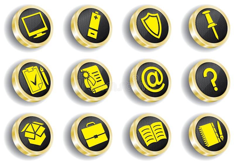 Conjunto de oro del icono del Web del ordenador stock de ilustración