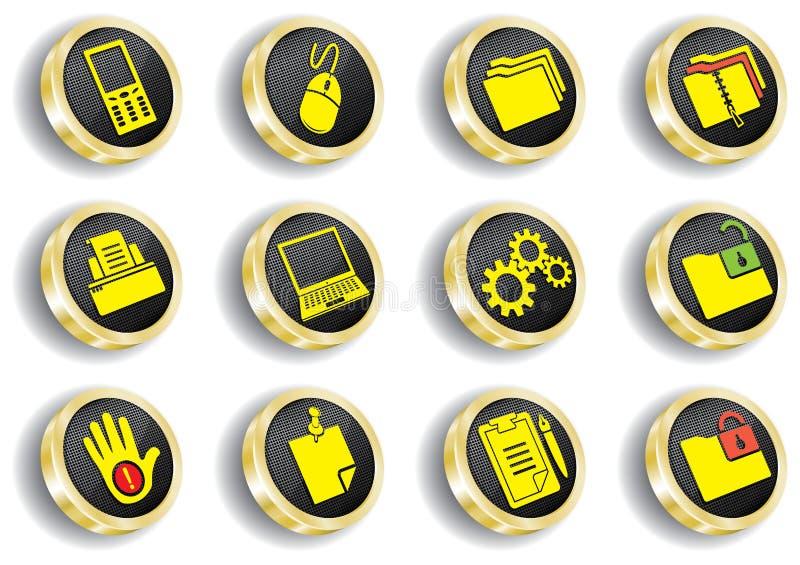 Conjunto de oro del icono del Web del ordenador ilustración del vector