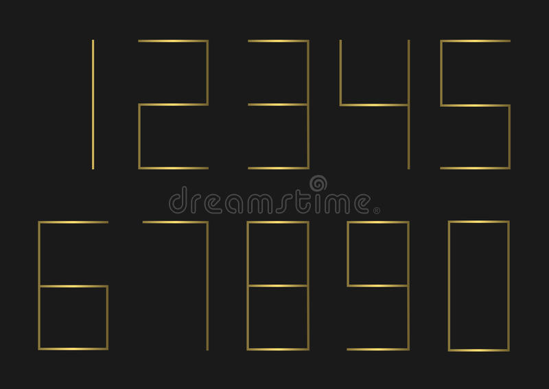 Conjunto de oro del número stock de ilustración