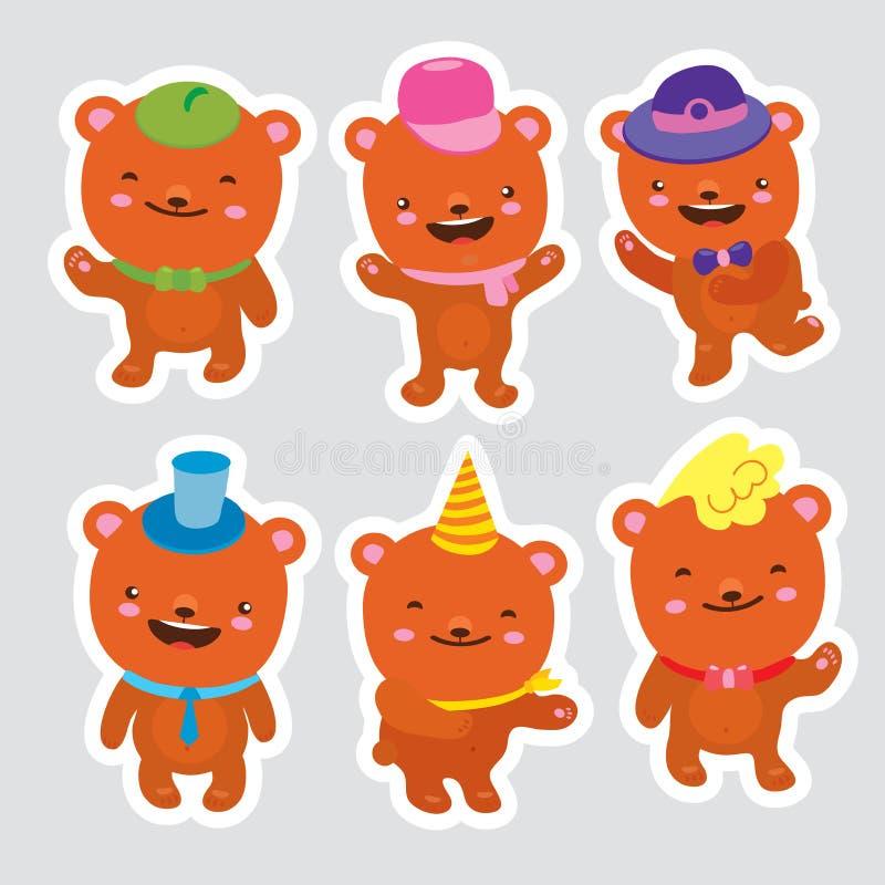 Conjunto de osos el baile divertido de la historieta lleva en sombreros y lazos Colección aislada vector de emociones felices Dre stock de ilustración