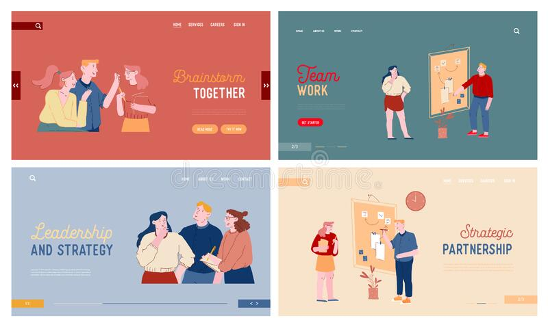 Conjunto de Página Inicial do Site de Brainstorm e Comunicação Produtiva Pessoas do Office Comunicam, Alcance da Meta ilustração royalty free