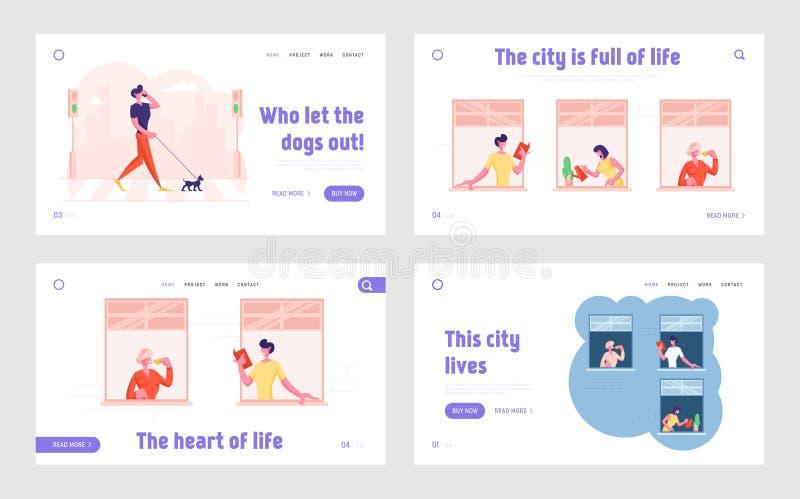 Conjunto de Página Inicial do Site de Comportamento do Pedestrian Crosswalk, Comportamento do Vizinho Pessoas no Windows Bebendo  ilustração stock