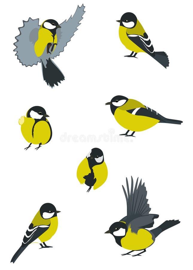 Conjunto de pájaros ilustración del vector