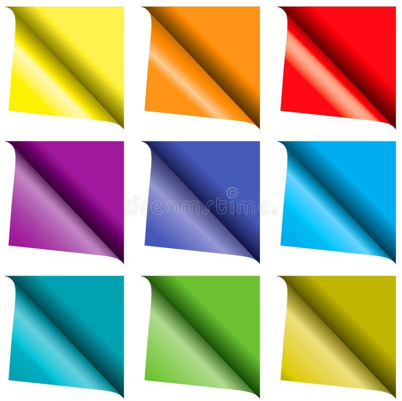 Conjunto de papel encrespado colorido stock de ilustración