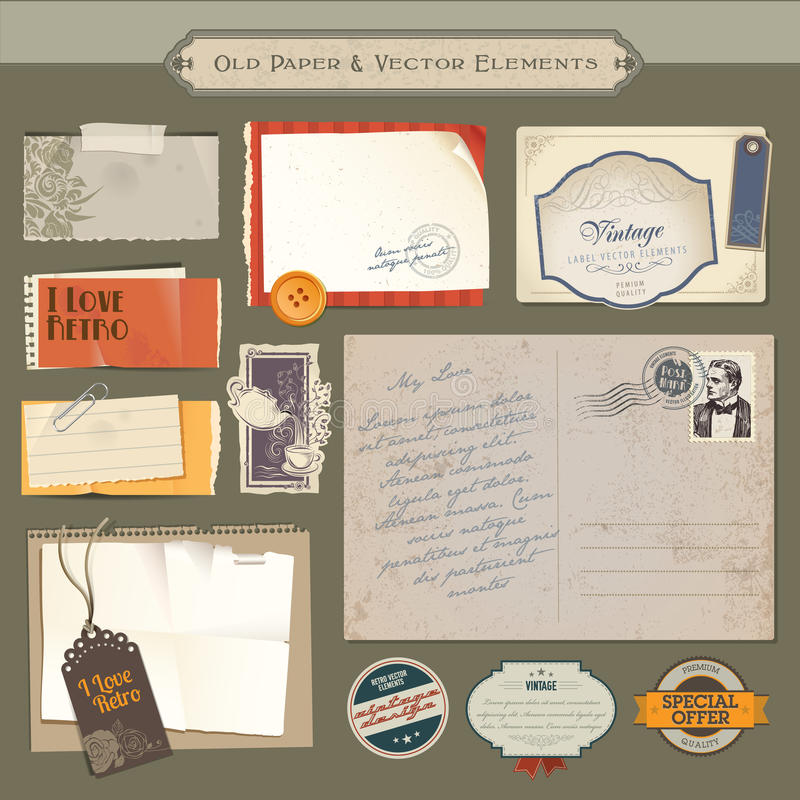 Conjunto de papel y de elementos de la vendimia libre illustration