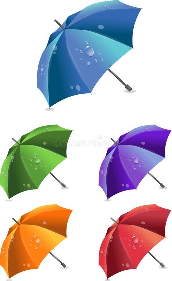 Conjunto de paraguas coloridos, ilustración stock de ilustración
