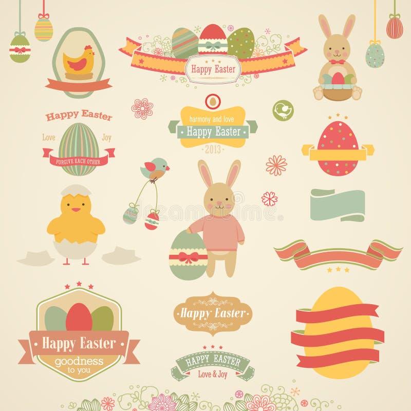 Conjunto de Pascua ilustración del vector