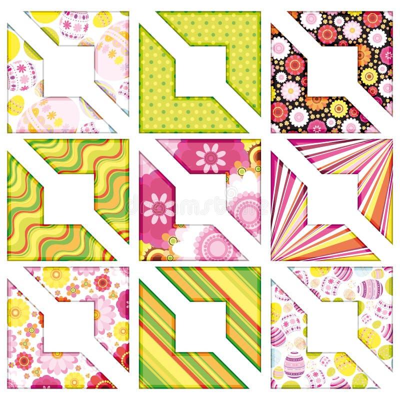 Conjunto de Pascua de la esquina, elementos del diseño. ilustración del vector
