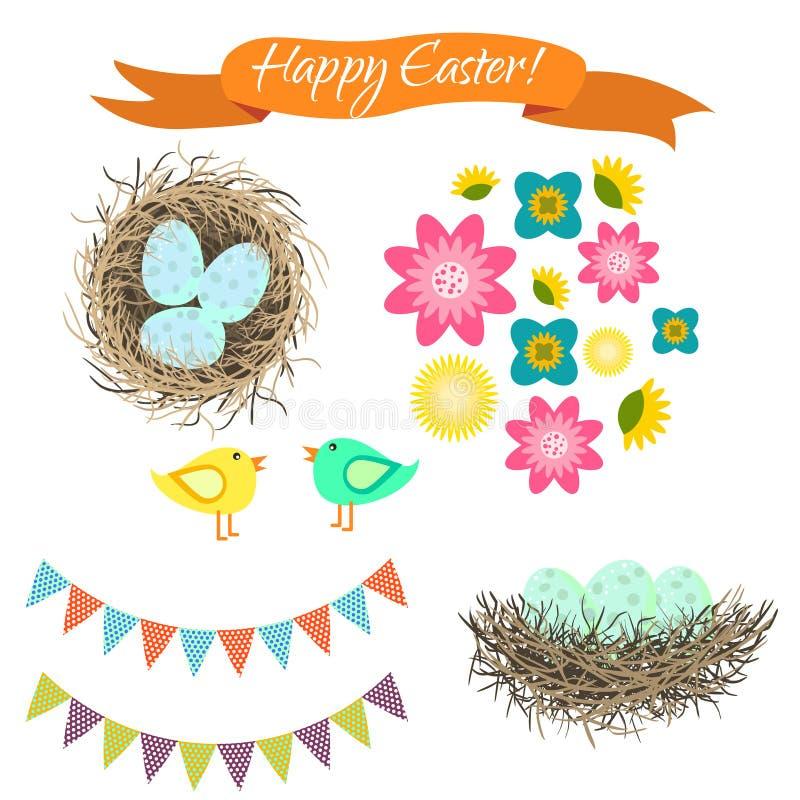 Conjunto de Pascua Huevos en jerarquía, pájaros y flores stock de ilustración