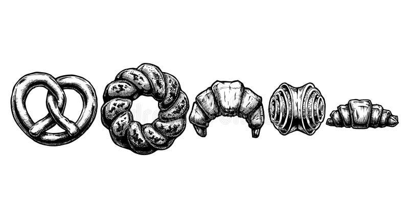 Conjunto de pasteles dulces stock de ilustración