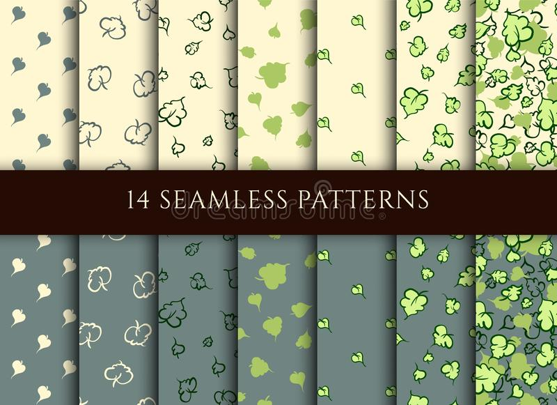 Conjunto de patrones sin fisuras con diferentes hojas de árbol estilizadas Diseño del embalaje, papel regalo, textil de color gri libre illustration