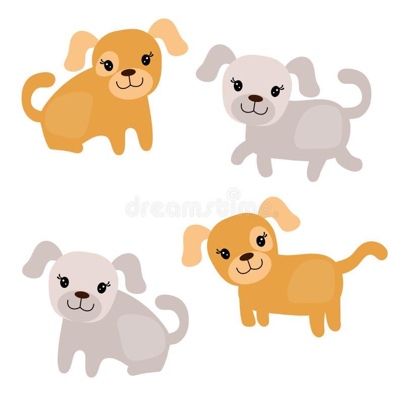 Conjunto de perros lindos stock de ilustración