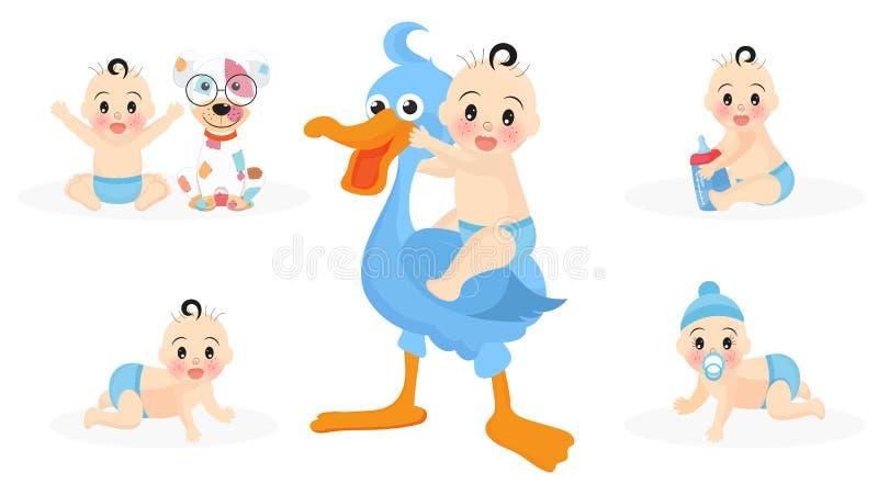Conjunto de personagens bonitinhos de criança com cegonha, brinquedos, filhotes e garrafa de leite para o chá de bebê ilustração do vetor
