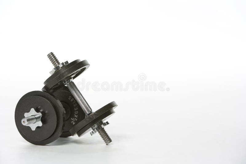 Conjunto de pesas de gimnasia imagenes de archivo