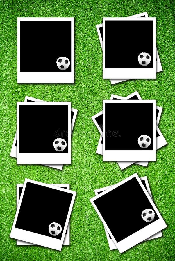 Conjunto de photoframe con el balón de fútbol fotos de archivo libres de regalías