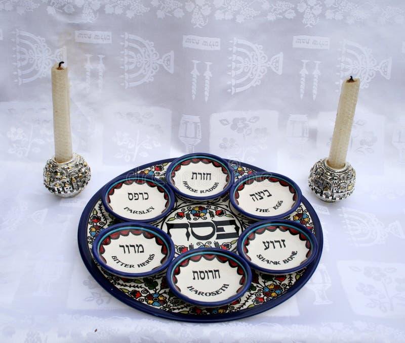 Conjunto de platos del Passover imagen de archivo