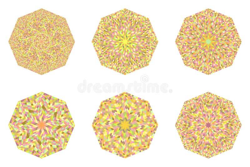 Conjunto de polígonos de mosaico aislado y abstracto stock de ilustración