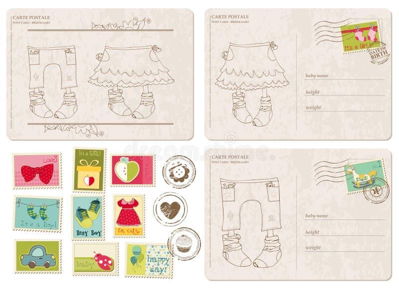 Conjunto de postales de la llegada del bebé con los sellos stock de ilustración