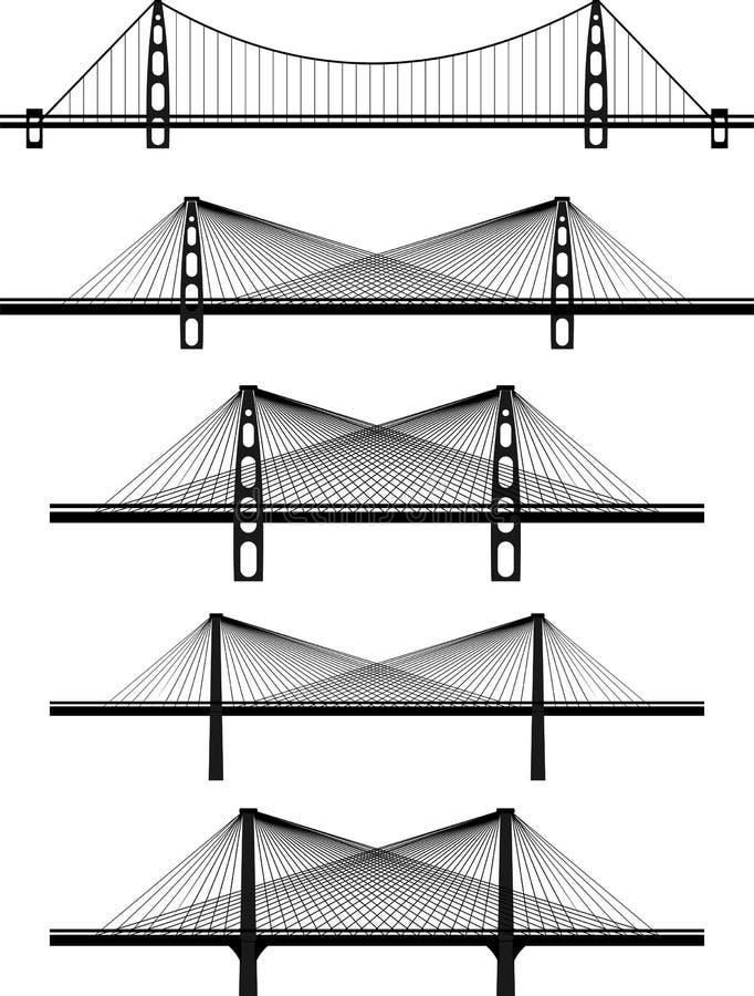 Conjunto de puentes de suspensión del cable del metal fotografía de archivo libre de regalías
