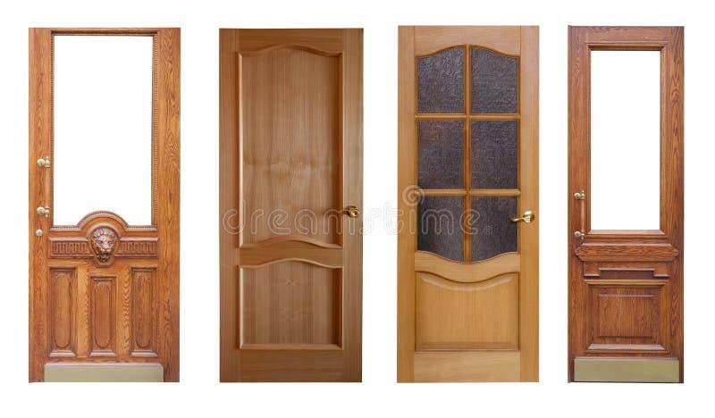 conjunto de puertas de madera blanco aislado del ver