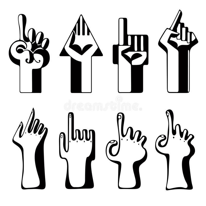 Conjunto de punteros de la mano ilustración del vector