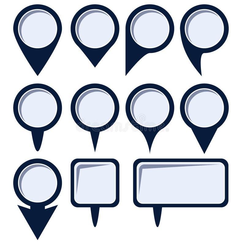 Conjunto de punteros de la correspondencia Perno de los mapas Icono del mapa de ubicación Perno de la ubicación Vector del icono  ilustración del vector