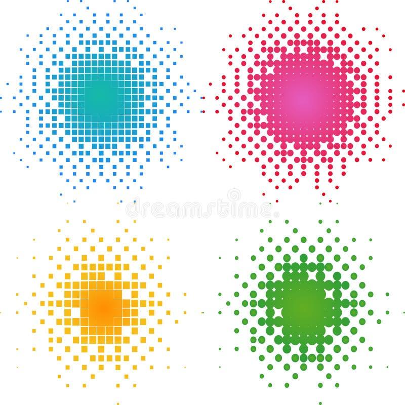 Conjunto de puntos de semitono coloridos, tono medio. imagenes de archivo