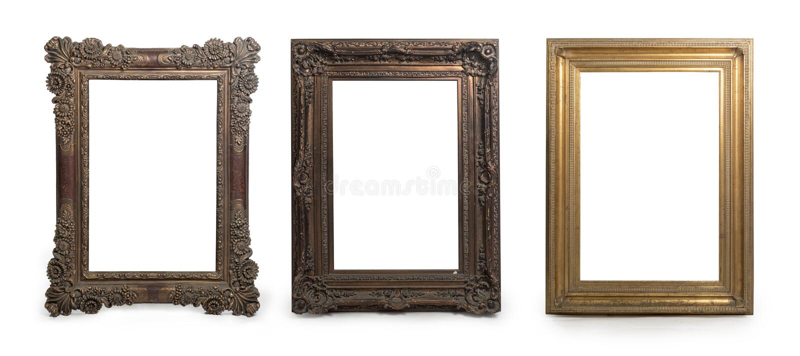 Conjunto de quadros e bordas decorativos isolados em branco imagens de stock