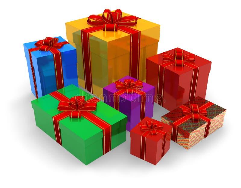 Conjunto de rectángulos de regalo ilustración del vector