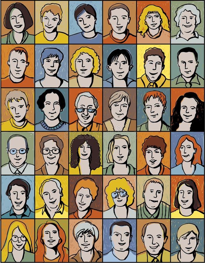 Conjunto de retratos irreconocibles de la gente. ilustración del vector