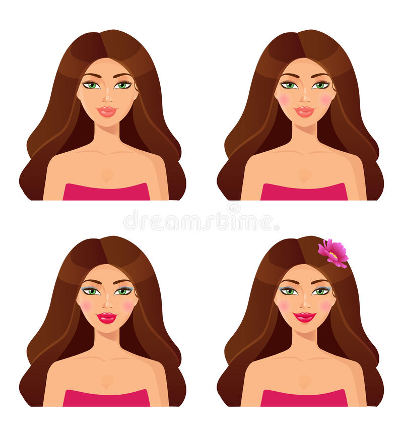 Conjunto de retratos de la mujer belleza Conjunto de caras de las muchachas Bru hermoso ilustración del vector