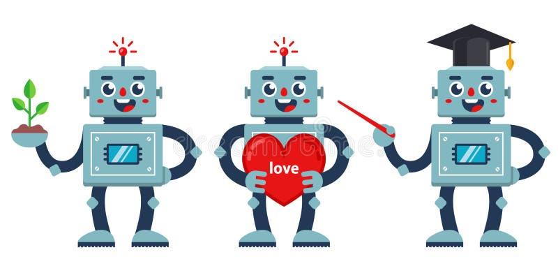 Conjunto de robots positivos un profesor de robots, un robot nerd y un robot con un corazón grande libre illustration