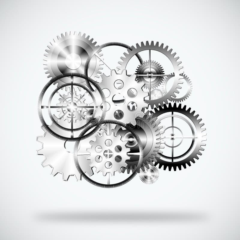Conjunto de ruedas de engranajes stock de ilustración