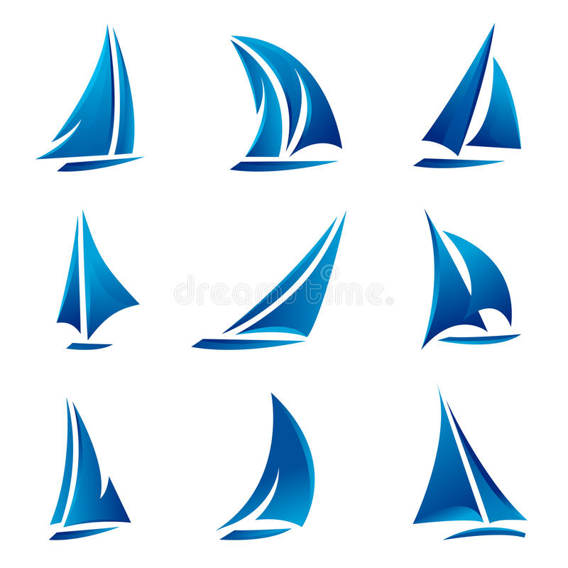 Conjunto de símbolo del barco de vela ilustración del vector