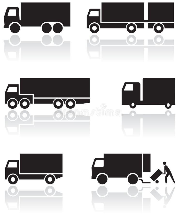 Conjunto de símbolo del carro o de la furgoneta. ilustración del vector