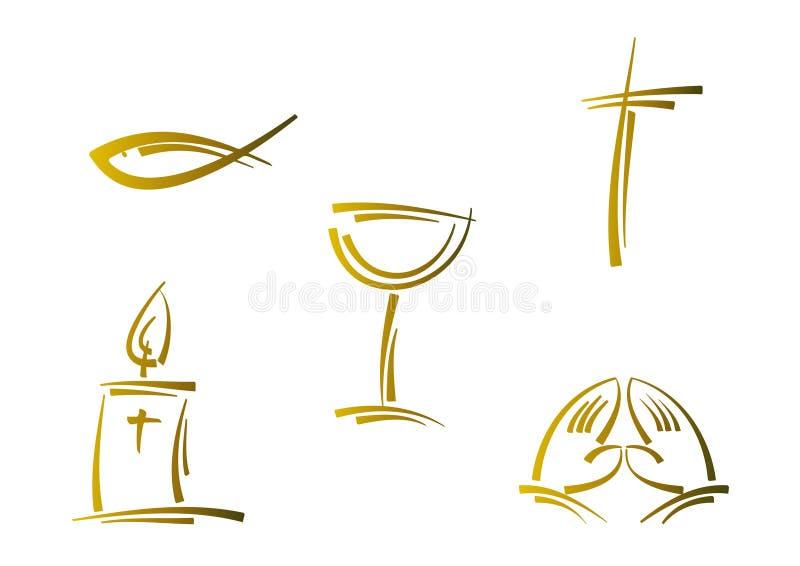 Conjunto de símbolo religioso abstracto (oro) stock de ilustración