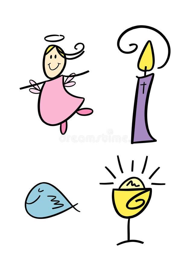 Conjunto de símbolo religioso para los cabritos libre illustration