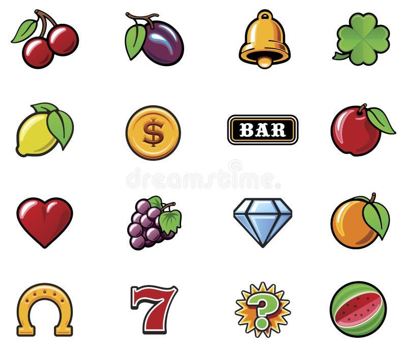 Conjunto de símbolos de la máquina tragaperras del vector stock de ilustración