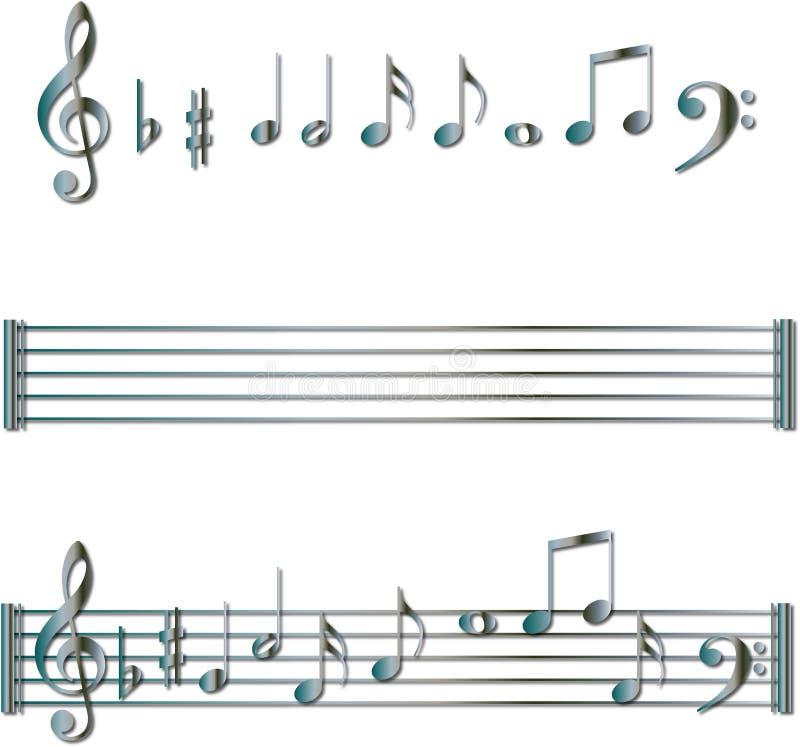 Conjunto de símbolos de las notas musicales ilustración del vector