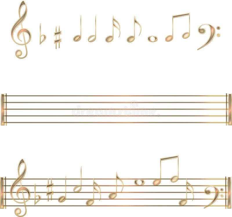 Conjunto de símbolos de las notas musicales del oro foto de archivo libre de regalías