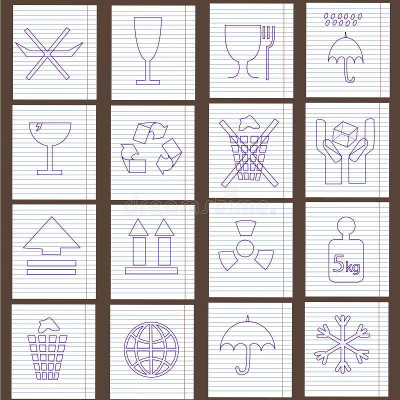Conjunto de símbolos del embalaje ilustración del vector