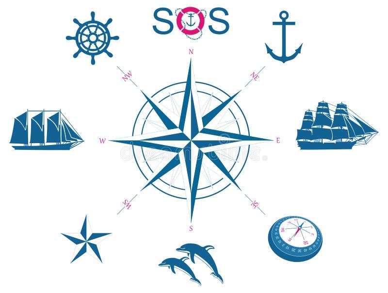Conjunto de símbolos náuticos ilustración del vector