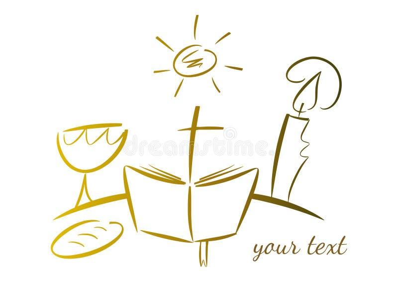 Conjunto de símbolos religiosos ilustración del vector