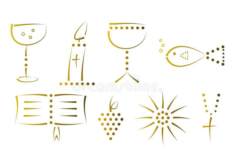 Conjunto de símbolos religiosos decorativos ilustración del vector