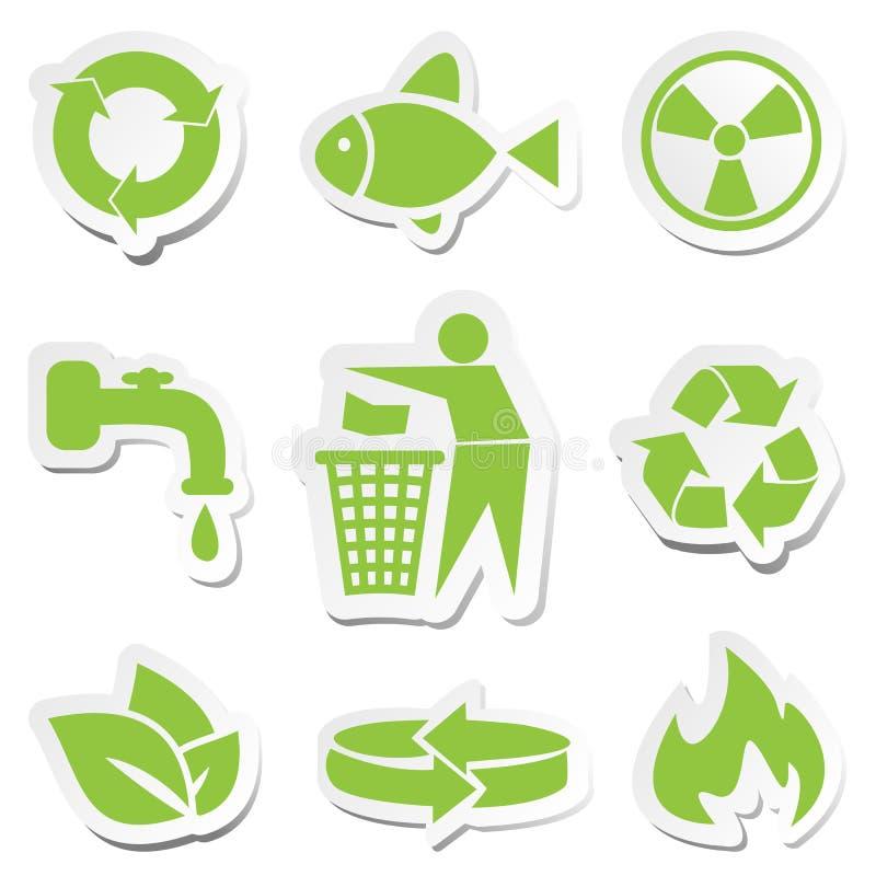 Conjunto de símbolos verde stock de ilustración