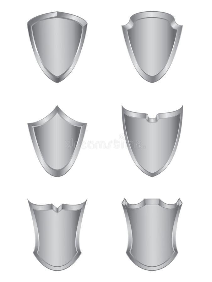 Conjunto de seis blindajes de plata stock de ilustración