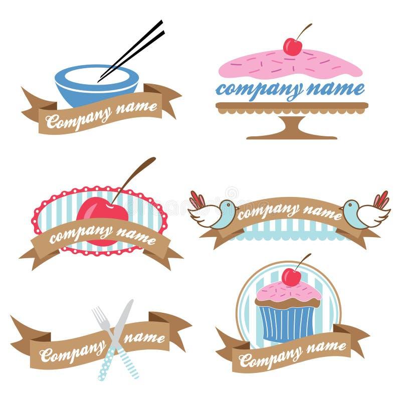 Conjunto de seis insignias retras de la cocina ilustración del vector