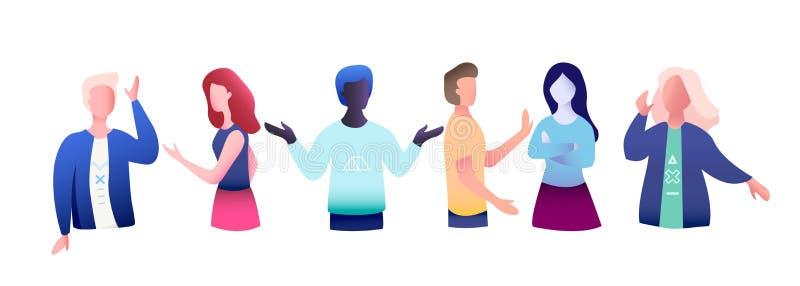 Conjunto de seis pessoas de diferentes nacionalidades Estão a falar ou a ter uma reunião Trendência colorida e pessoas isoladas V ilustração do vetor